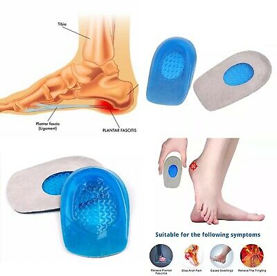 Silicone Heel Support Shoe Pads Gel Orthotic Plantar Fasciitis Care Insoles • 2.69£