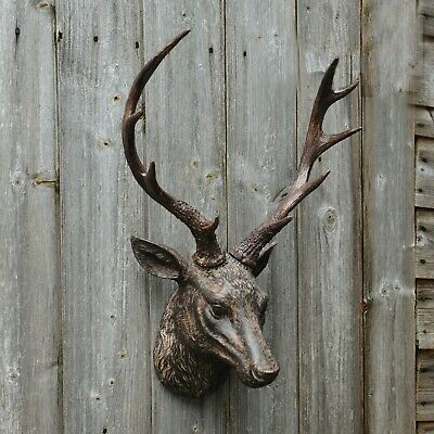 Wall Mounted Stag Deer Head Ornament, Antler Plaque, Sculpture, Decoration,  • 33.99£