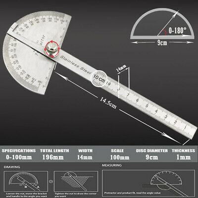 $6.75 • Buy SAE Rotary Protractor 0-180° Angle Ruler Gauge Stainless Steel Machinist Tool