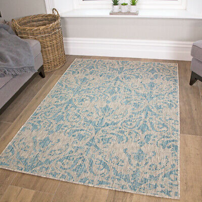 Blue Floral Indoor Outdoor Rugs Classic Living Room Rug Plastic Garden Patio Mat • 59.95£