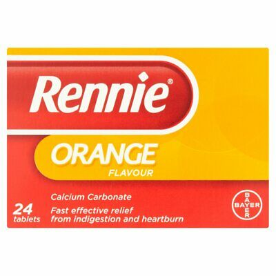 Rennie Indigestion & Heartburn Relief Orange Flavour 24 Tablets • 2.95£