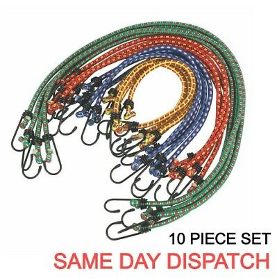 £2.99 • Buy 10 Piece SET 28/40/60/90cm STRONG STRETCHED BUNGEE CORD STRAPs CAR ROOF LUGGAGE