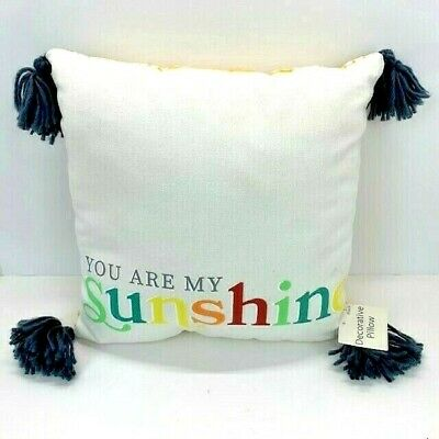 Decorative Throw Pillow Yellow Plaid Gray Poms  You Are My Sunshine  Brand New • 8.33£