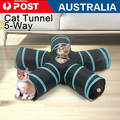 AU20.96 • Buy Practical Cat Tunnel 5-Way Foldable Pet Toy Tunnel Rabbit Cat And Dog Game