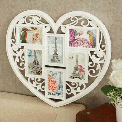 £12.59 • Buy Family Love Heart Aperture 6 Photo Picture Frame Holds 6'' Photos White
