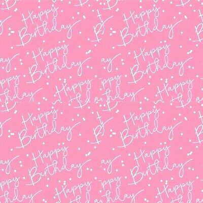 £2.75 • Buy HAPPY BIRTHDAY Pink + Silver Foiled Gift Wrap Sheet Or Tag Ladies Wrapping Paper