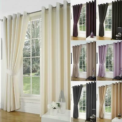 Luxury Faux Silk Slubbed Curtains Pair Eyelet Ring Top Lined With Tiebacks Set • 23.95£