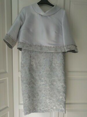 Grey/ Silver Dress And Jacket, Marked Size 14 *Small Fitting, Will Fit Size 12* • 38£