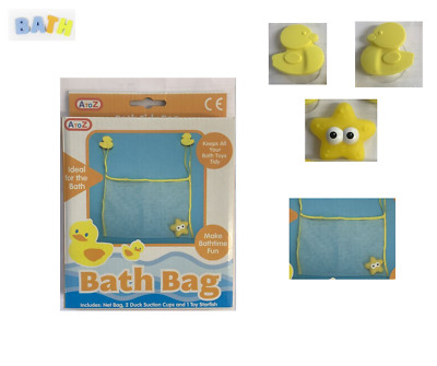 DUCK Kids Baby Bath Toy Tidy Storage Bag Suction Cup Bathroom Organiser Net Mesh • 3.69£