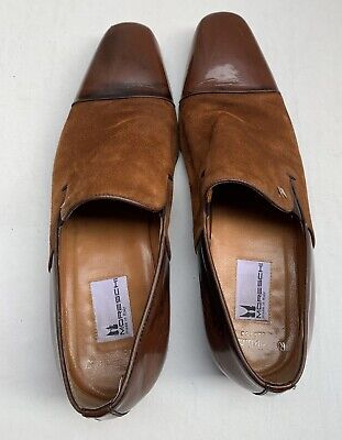 Moreschi Russell And Bromley Brown Suede And Leather Mens Slip On Shoes • 29.99£