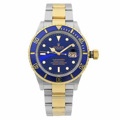 $ CDN13466 • Buy Rolex Submariner Date Steel 18K Gold Blue Dial Automatic Mens Watch 16613