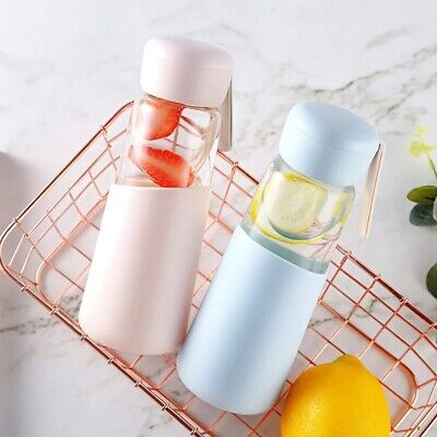 400ml Eco Friendly Unbreakable Glass Water Bottle With Silicone Sleeve & Lid • 7.99£