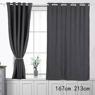 Thick Thermal Blackout Door Curtains Eyelet Ring Top Ready Made Single Panel • 11.49£