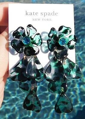 $ CDN31.88 • Buy NWT Kate Spade Petal Pushers Linear Earrings Crystal Flower Green Multi NEW $68