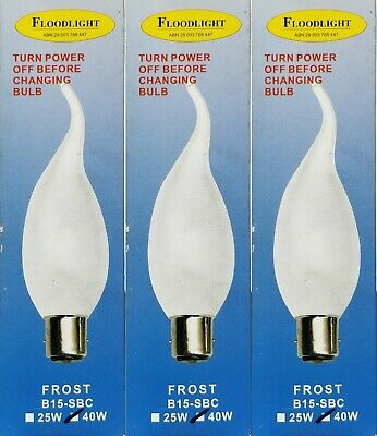 AU34.50 • Buy 3 X 40W Incandescent Pearl Candle Flame Tip Light Globe Bulb B15 Small Bayonet