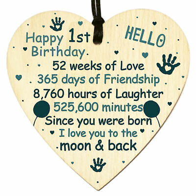 1st Birthday Card Wooden Heart Plaque Keepsake Baby Daughter Son Boys Girls Gift • 3.49£