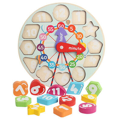 £6.99 • Buy Children Kids Wooden Wood Learning Clock Shape Puzzle Early Educational Toy UK