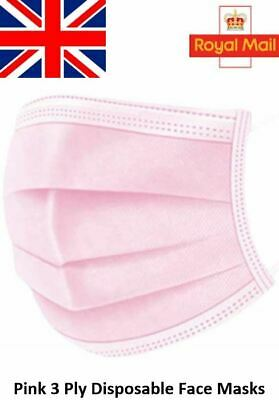 10 / 20 / 50 / 100 X Pink Disposable Face Masks 3 Ply Surgical Face Covers • 5.99£