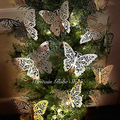 12 PCS Christmas Tree Butterfly Decoration Card Cherish Baubles Wedding Ornament • 3.20£