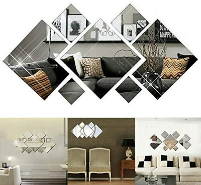3D Mirror Tiles Mosaic Wall Sticker Self Adhesive Bedroom Art Decal Home Room • 7.29£
