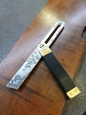 Vintage Brass And Ebony Sliding Bevel 9 Inch Blade. • 12£