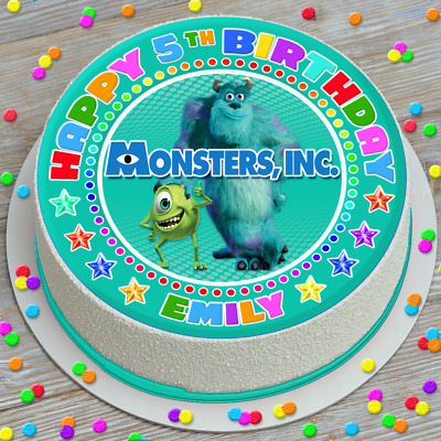 Monsters Inc Colourful Personalised 7.5 Inch Pre-cut Edible Cake Topper 115a • 2.79£