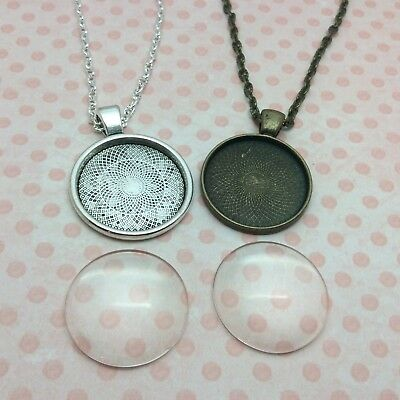 Pendant Necklace Kit Jewellery Making Glass Dome Cabochon Setting And Chain • 2.79£