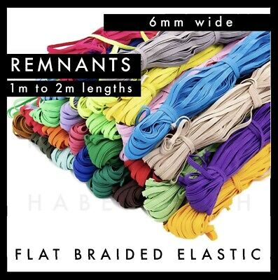AU3.79 • Buy REMNANTS Colourful Flat Braided Elastic 6mm Per Metre Band Colour