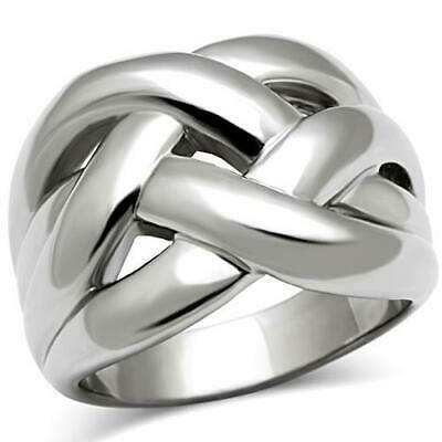 Ladies Silver Ring Band Stainless Steel No Stone Chunky Weave Size R 9 Stamped • 9.99£