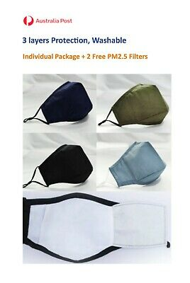AU10.95 • Buy Face Mask Washable, 100% Cotton, 3 Layers, Reusable, With PM2.5 Filter Pocket