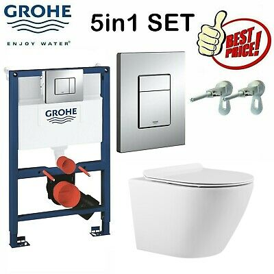Grohe Rapid Sl Wc Frame 0,82 + Rimless Compact Toilet Pan & Slim Soft Close Seat • 339£