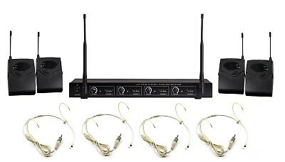 Wireless Microphone System UHF 4 Channel Headset Cordless Head Microphone Set • 131.60£