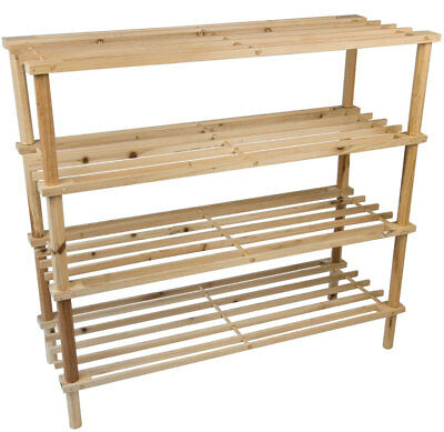 AU68.58 • Buy 3 4 Tier Wooden Shoe Rack Shelf Organiser Small Storage Upright Stackable Stand