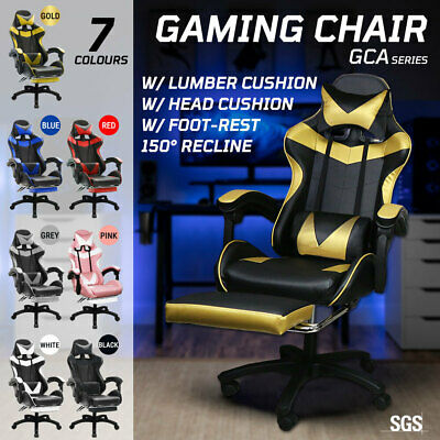 AU109.50 • Buy Gaming Chair Office Executive Racing Computer Recliner Footrest Seat PU Leather