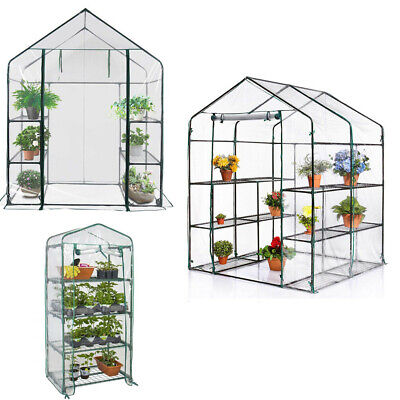 New Walk In Greenhouse PVC Plastic Garden Grow Green House With 6 Or 8 Shelves • 26.89£