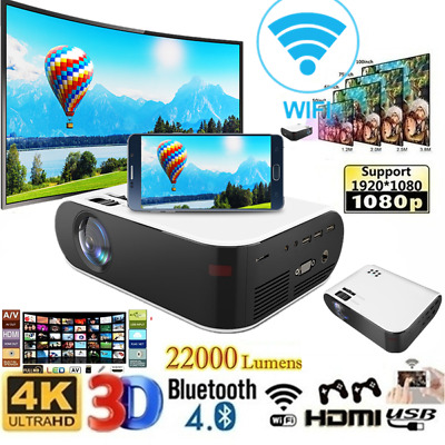 AU163.11 • Buy Portable HD 1080P Projector Android WiFi Bluetooth Theatre Home Cinema HDMI USB