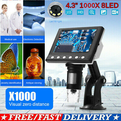 4.3  1000X HD LCD Monitor Electronic Digital Video Microscope 8LED Magnifier • 25.59£