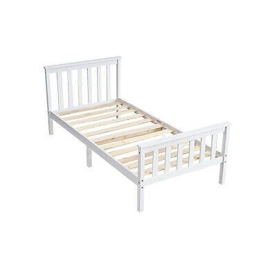 White Single Bed Frame 3FT Solid Wooden Slatted Bedstead Beds Bedroom Furniture • 49.99£