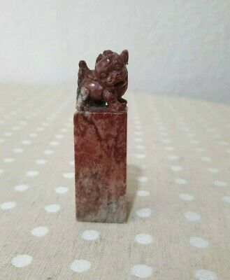 Beautifully Hand Carved Marble Chinese Dragon Wax Stamp Vintage Ornament • 9.50£