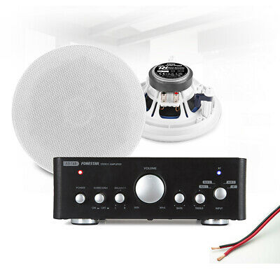 5.25  Ceiling Speaker System With Bluetooth FM Amplifier Home Stereo HiFi Music • 133£