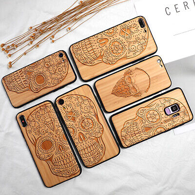 AU18.85 • Buy Bamboo Wood Carved Sugar Skull Phone Case For IPhone 11 7 8 XR Samsung S8 S9 S10