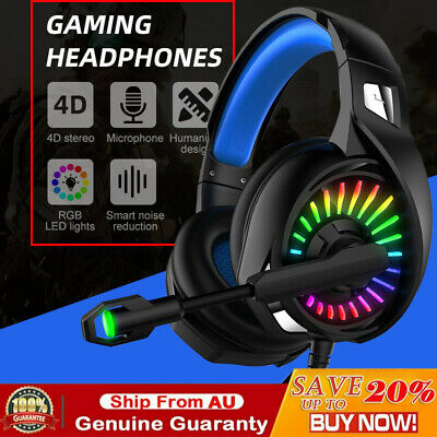 AU49.99 • Buy 3.5mm Gaming Headset MIC LED Headphones Surround For PC Mac Laptop PS4 Xbox One