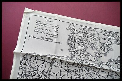 WWII Pilots RAF Silk Escape And Evasion Map Single Sided, Germany, D-DAY 1940's • 250£