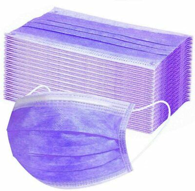 10 / 20 / 50 / 100 X Purple Disposable Face Masks 3 Ply Surgical Face Covers • 8.49£