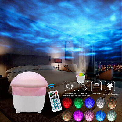 Ocean Wave LED Night Light Ceiling Projector Lamp With Music Speaker Kid Bedroom • 16.49£