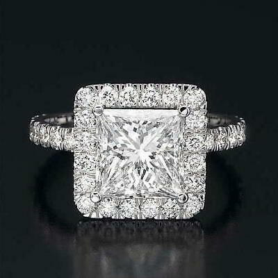 $ CDN3721.20 • Buy 18k White Gold 2 Carat Diamond Solitaire W/ Side Accents Wedding Ring