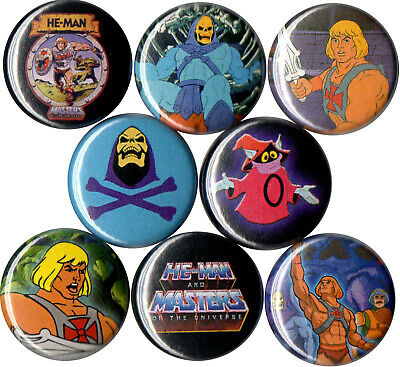 $5.99 • Buy He-Man 8 Pins Buttons 80s Cartoons Skeletor Orko Masters Of The Universe Motu