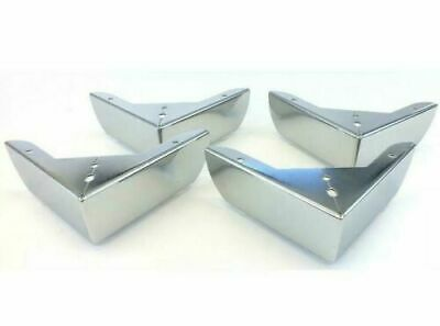 £9.99 • Buy 4x Chrome Metal Furniture Corner Legs Feet Sofas Stools Pre Drilled 10cm X 5cm