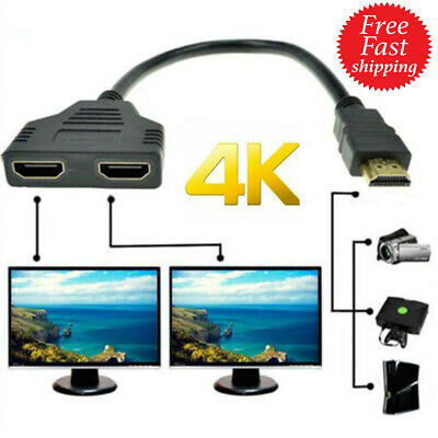 $ CDN8.11 • Buy 4K HDMI Cable Splitter Adapter 2.0 Converter 1 In 2 Out 1 Male To 2 Female