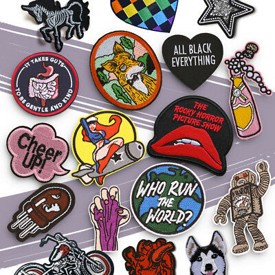 Embroidered Sew On Iron On Patch Badge Fabric DIY Craft Clothes Shirts Transfer • 1.99£